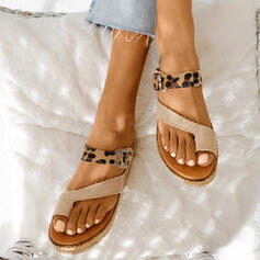 Women's Leatherette Flat Heel Sandals Peep Toe Slippers Toe Ring With Split Joint shoes