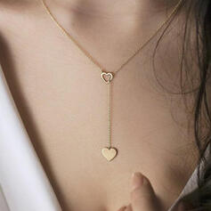 Simple Heart Valentine's Day Alloy With Heart Women's Necklaces