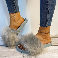 Women's Fake fur Flat Heel Sandals Peep Toe With Solid Color shoes