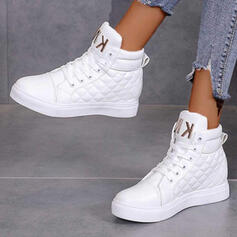 Women's PU Flat Heel Ankle Boots Round Toe With Lace-up Breathable shoes