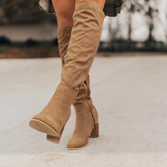 Women's Suede Stiletto Heel Knee High Boots With Zipper shoes