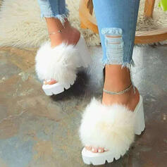 Women's Fake fur Chunky Heel Sandals Peep Toe With Faux-Fur Splice Color shoes