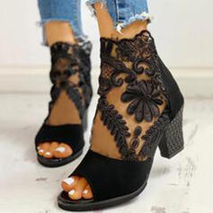 Women's Suede Mesh Chunky Heel Pumps Ankle Boots With Zipper shoes