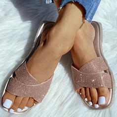 Women's PVC Flat Heel Slippers With Sparkling Glitter shoes