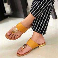 Women's PU Flat Heel Sandals Peep Toe With Rivet Hollow-out shoes