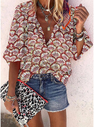 Print V-Neck 1/2 Sleeves Button Up Casual Shirt Blouses