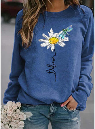 Animal Print Floral Round Neck Long Sleeves T-shirts