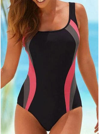 Splice color Backless Strap U-Neck Sexy Sports Casual One-piece Swimsuits