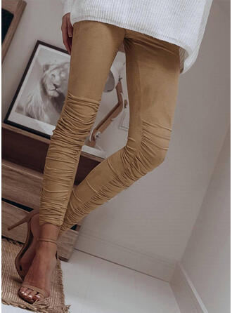 Solid Shirred Sexy Skinny Leggings