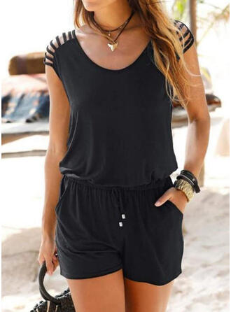 Solid Round Neck Cap Sleeve Casual Vacation Romper