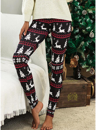 Geometric Print Plus Size Christmas Casual Vintage Leggings