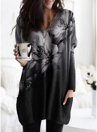 Print Floral Pockets Round Neck Long Sleeves Sweatshirt