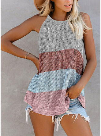 Color Block Round Neck Sleeveless Casual Knit Tank Tops