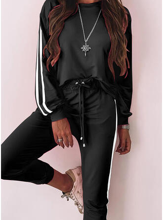 Shirred Drawstring Casual Sporty Suits