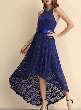 Lace/Solid Sleeveless A-line Asymmetrical Vintage/Party/Elegant Skater Dresses