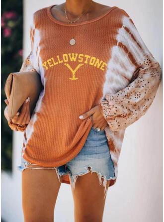 Print Lace Tie Dye Round Neck Long Sleeves Casual Blouses