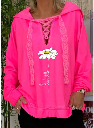 Print Floral Lace Long Sleeves Hoodie