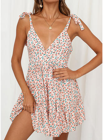 Print/Floral Sleeveless A-line Above Knee Sexy/Casual Slip Dresses