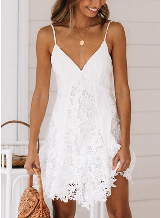 Lace/Solid Sleeveless Shift Above Knee Sexy/Casual/Vacation Slip Dresses