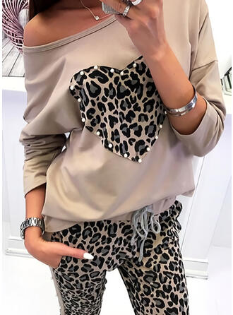 Beaded Leopard Heart Round Neck Long Sleeves T-shirts