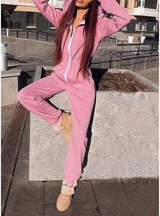 Solid Long Sleeves Casual Jumpsuit