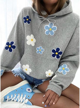 Embroidery Floral Long Sleeves Hoodie