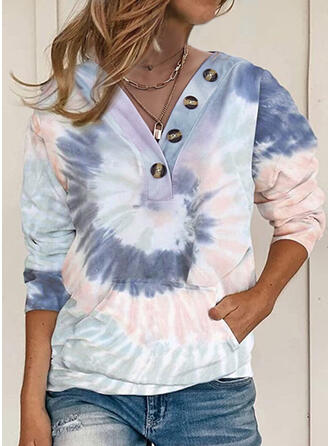 Tie Dye Pockets V-Neck Long Sleeves Sweatshirt