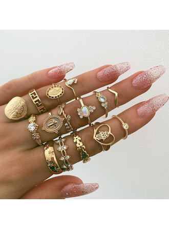 Unique Exquisite Stylish Alloy Jewelry Sets Rings (Set of 15 pairs)
