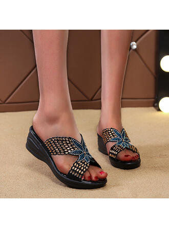 Women's Leatherette Wedge Heel Sandals Wedges Peep Toe Slippers With Applique Crisscross shoes