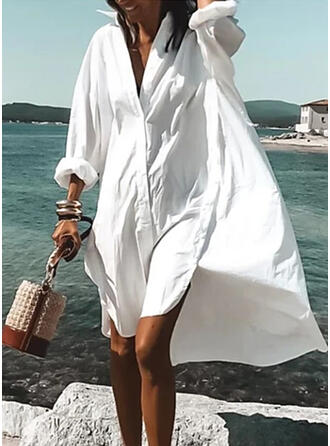 Solid Long Sleeves Shift Asymmetrical Casual/Vacation Shirt Dresses