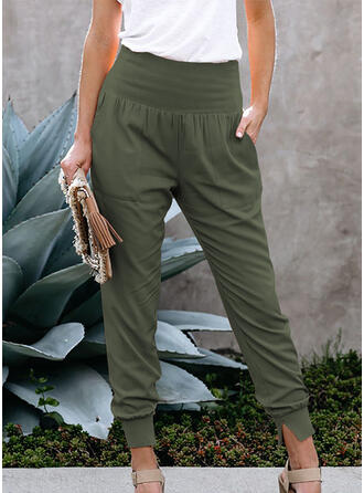 Solid Pockets Shirred Long Casual Solid Sporty Pants