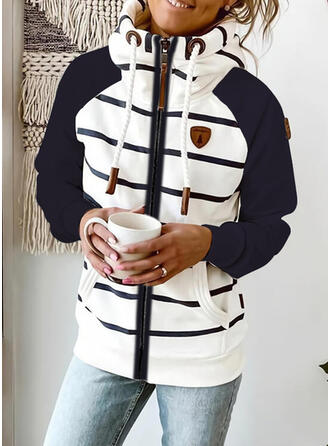 Color Block Striped Pockets Long Sleeves Hoodie
