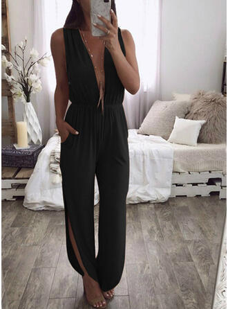 Solid V-Neck Sleeveless Casual Jumpsuit