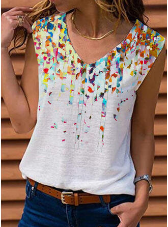 Print V-Neck Sleeveless Tank Tops