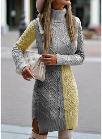 Color Block Cable-knit Turtleneck Casual Long Tight Sweater Dress