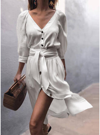 Solid 3/4 Sleeves A-line Skater Casual/Vacation Midi Dresses