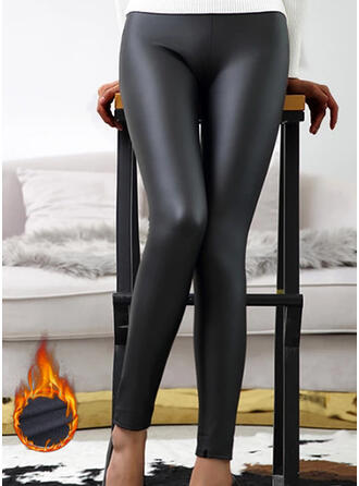 Solid Plus Size Sexy Leather Vintage Stretchy Leggings