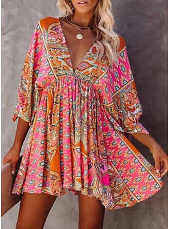 Print/Backless 3/4 Sleeves A-line Above Knee Casual/Boho/Vacation Skater Dresses
