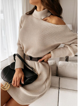 Solid Turtleneck One Shoulder Casual Long Sweater Dress