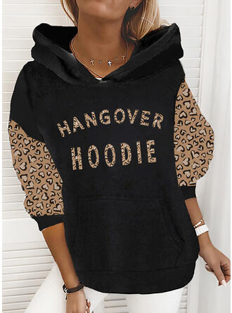 Print Leopard Figure Long Sleeves Hoodie