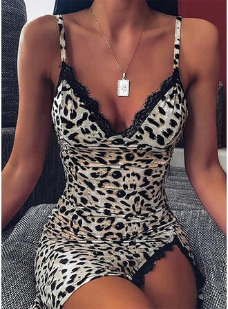 Lace/Leopard Sleeveless Bodycon Above Knee Sexy/Party Slip Dresses
