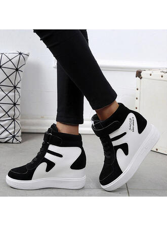 Women's Leatherette Wedge Heel Closed Toe Boots High Top Round Toe With Lace-up Velcro shoes