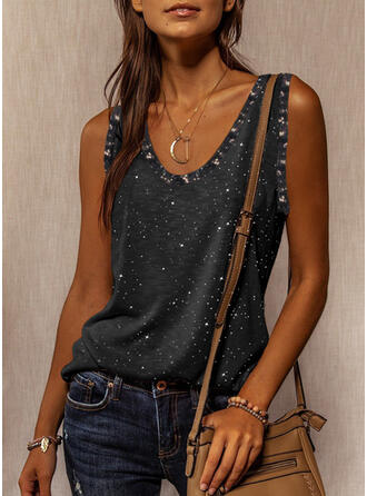 Print Sequins Round Neck Sleeveless Tank Tops