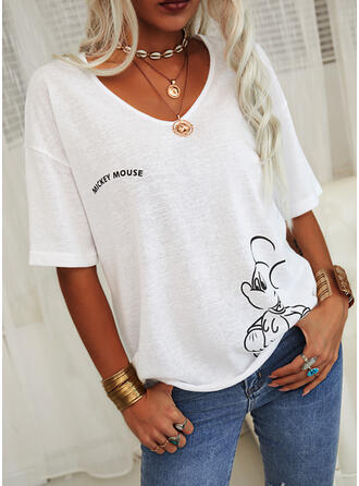 Animal Print Figure V-Neck 1/2 Sleeves Casual T-shirts