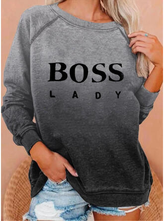 Print Figure Gradient Round Neck Long Sleeves Sweatshirt