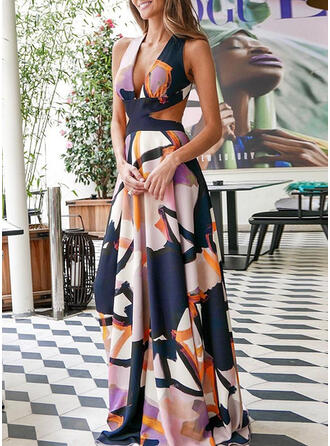 Print/Backless Sleeveless A-line Skater Sexy Maxi Dresses