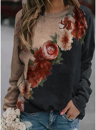Print Floral Round Neck Long Sleeves Sweatshirt