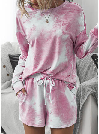 Tie Dye Coulisse Casuale Stampa Abiti
