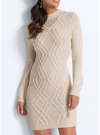 Solid Crew Neck Casual Long Sweater Dress