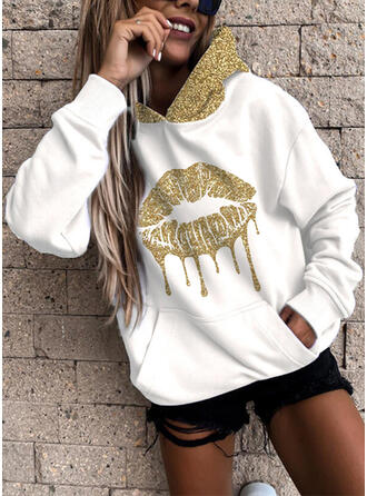 Sequins Pockets Long Sleeves Hoodie